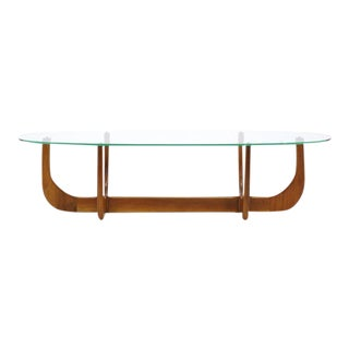 Organic Form Walnut and Glass Coffee Table in the style of Adrian Pearsall