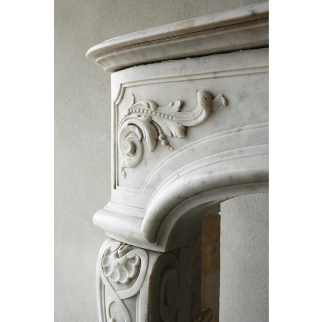 19th Century, Louis XIV Style, Antique Fireplace of Carrara Marble For Sale - Image 10 of 13