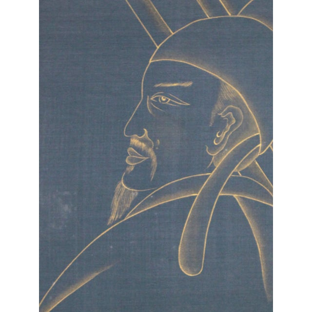 Asian Metallic Gold Paint on Blue Silk Chinoiserie Diptych Paintings - 2 Pieces For Sale - Image 3 of 8
