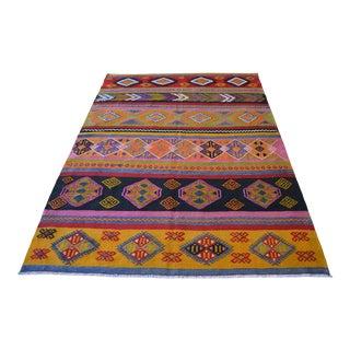 Vintage Turkish Kilim Hand Woven Braided Area Rug For Sale