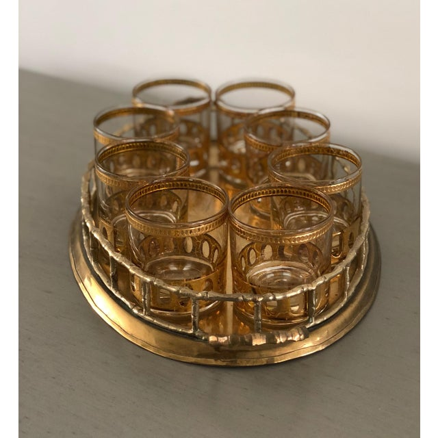 Mid-Century Modern Anitigua 22k Culver Old Fashioned Cocktail Glasses With Vintage Brass Tray - Set of 9 For Sale - Image 3 of 13