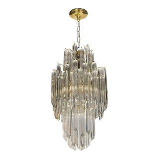 Mid-Century Modernist Skyscraper Form, Three-Tier Cut Triedre Camer Chandelier