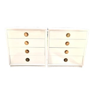 Mid Century Modern White Lacquered 4 Drawer Night Stands-a Pair For Sale