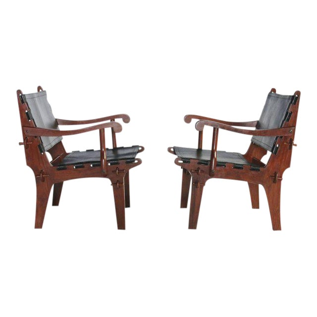 Pair of Angel Pazmino Rosewood and Leather Sling Armchairs - A Pair For Sale