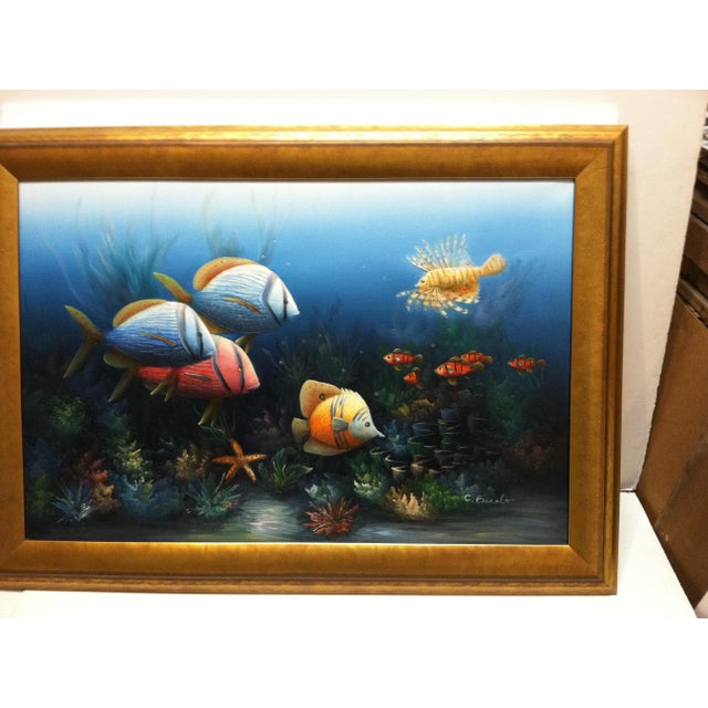 """This is a Framed Original Painting on Canvas that is titled """"Tropical Fish"""" done by C. Benolt. The Painting is in Very..."""