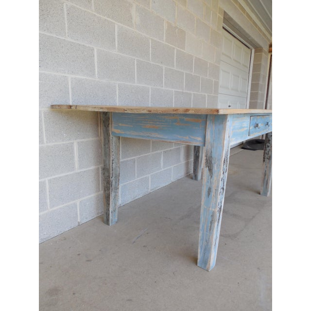 Reclaimed Thin Board Rustic Farm Dining Table - Image 8 of 8