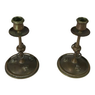 1940s Bronze French Bronze Tiffany Style Candlestick With Miniature Bugs on Base - a Pair For Sale