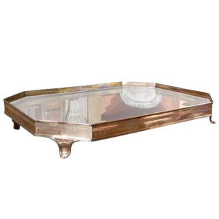 English Silver Table Plateau or Tray With Mirrored Top, Late 19th Century For Sale