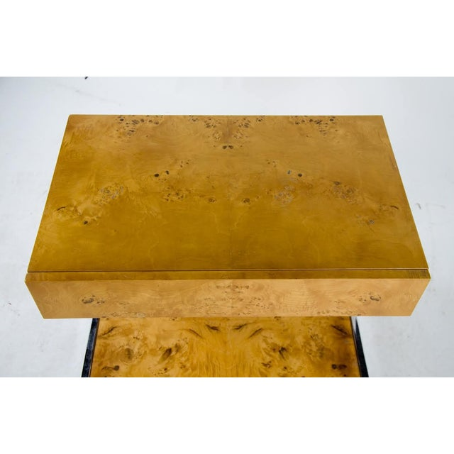 1990s Modern Burl Walnut Nightstand Side Table For Sale In Atlanta - Image 6 of 13