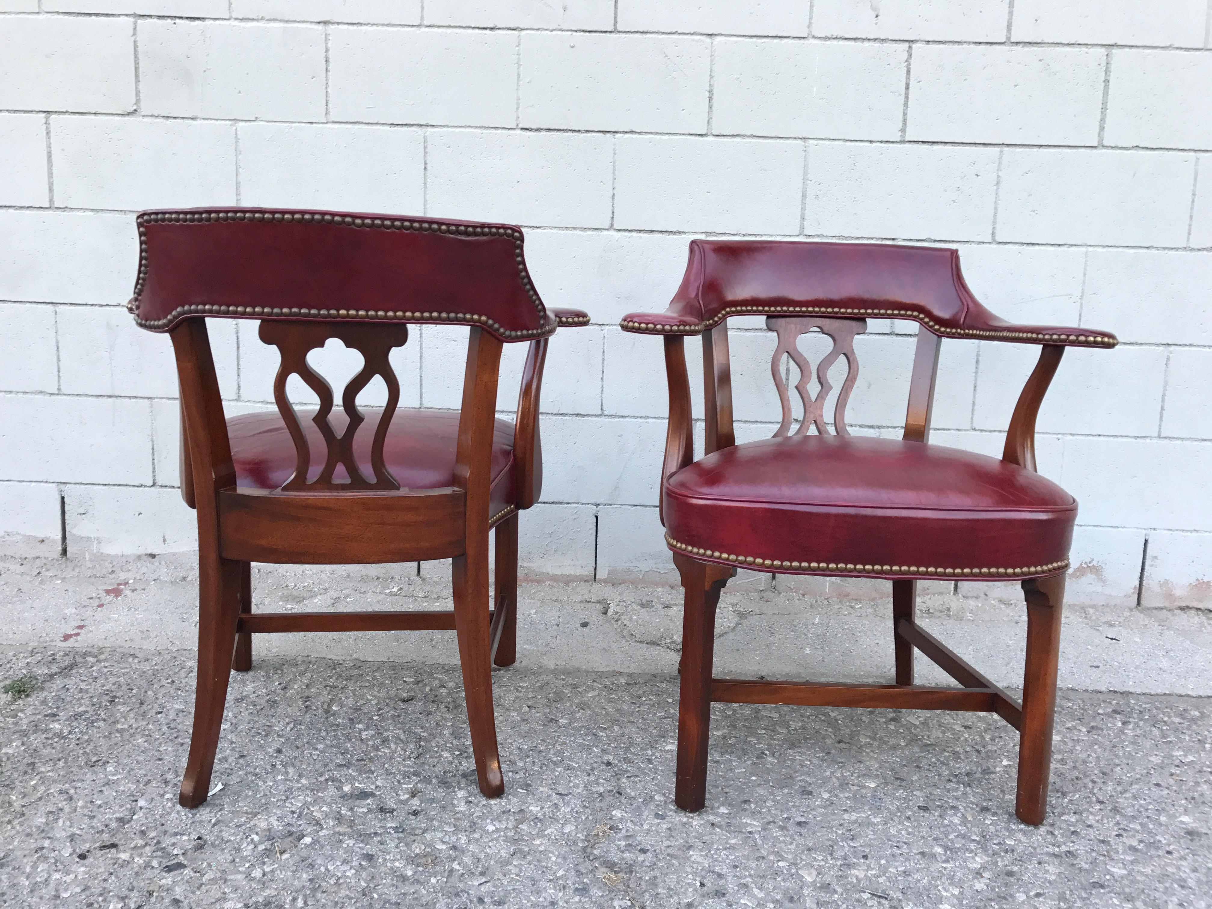 Vintage Hickory Chair Company Leather Library Chairs   A Pair   Image 8 Of  10