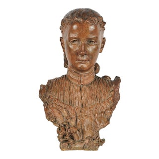 Antique Signed Italian Terracotta Bust of a Beautiful Woman For Sale
