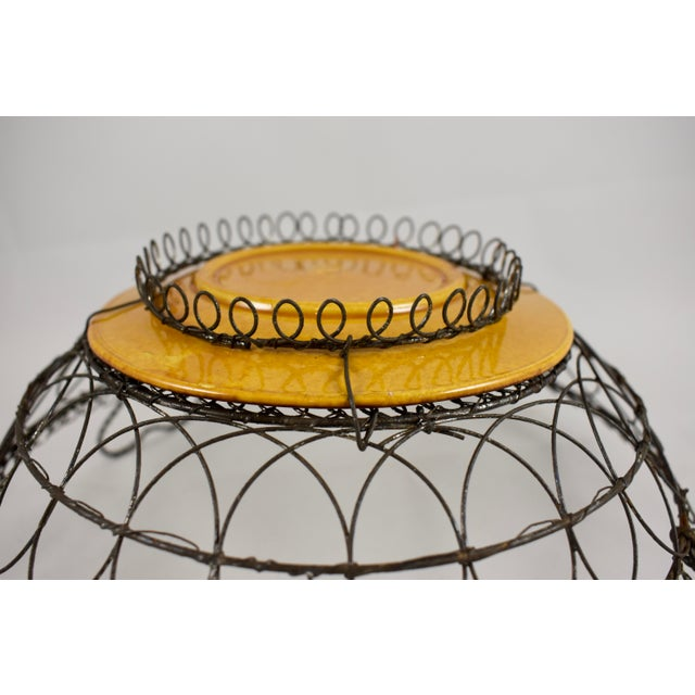 Green Villeroy & Boch Majolica & Heart Handled Wire Basket For Sale - Image 8 of 10