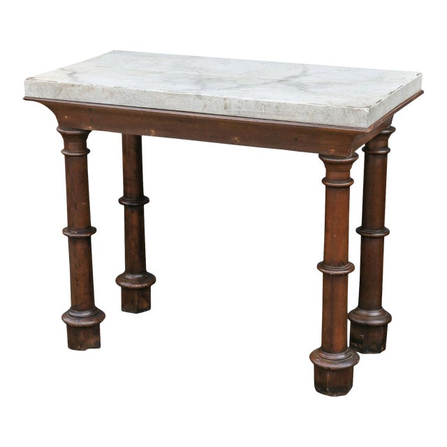 Faux Marble-Top Console For Sale