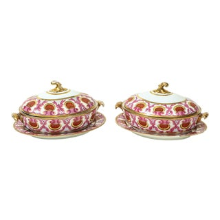 Pair of English Porcelain Covered Tureens, Probably Coalport For Sale
