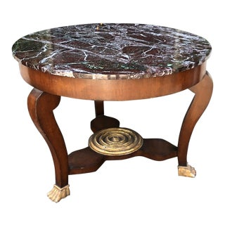 Antique Empire Mahogany Gilt-Wood & Round Marble Top End or Side Table For Sale