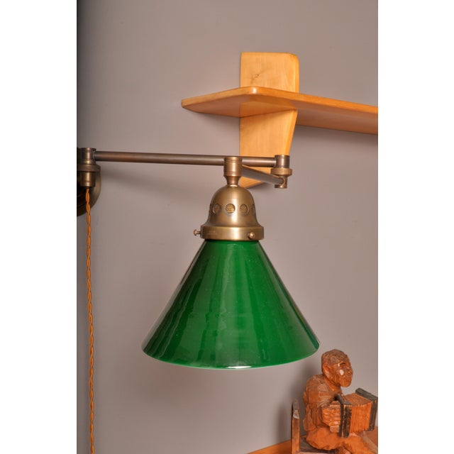 Industrial Swing Arm Wall Lamp, Switzerland 1930s For Sale - Image 3 of 6