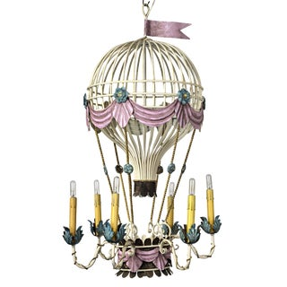 French Hot Air Balloon Inspired Chandelier Restored