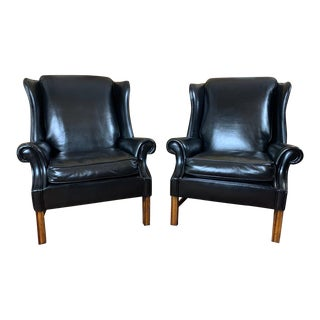Vintage Mid-Century English Leather Chesterfield Wingback Chairs, Black - a Pair For Sale