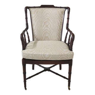 Faux Bamboo Style Mahogany Finish Arm Chair For Sale