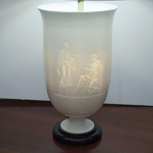 French Art Deco White Glass Table Lamp and Uplight with Greco Roman Figures For Sale - Image 10 of 11