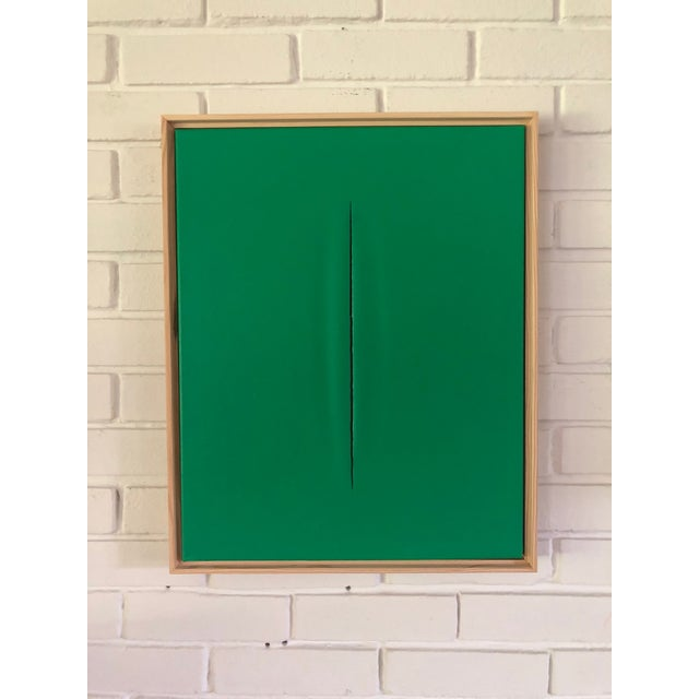 Abstract Unique Green Slice Modern Art Painting by Tony Curry For Sale - Image 3 of 3