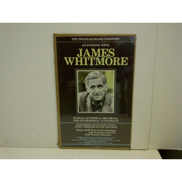 "Vintage ""James Whitmore"" College Show Poster - Image 2 of 4"