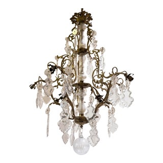 19th Century French Iron & Crystal Chandelier For Sale