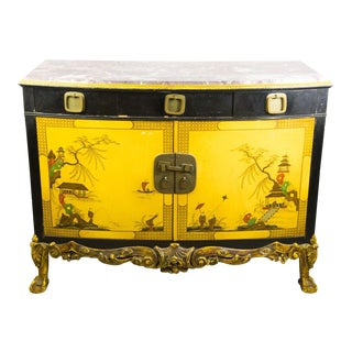 20th C. Chinoiserie Marble Top and Black Lacquered Commode