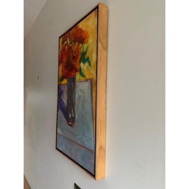 2010s Original Orange Zinnias Oil Painting For Sale - Image 5 of 7