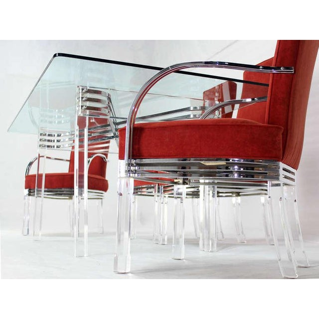 Mid-Century Modern Mid-Century Modern Set of Six Dining Chairs and Table in Lucite, Chrome, Glass For Sale - Image 3 of 9