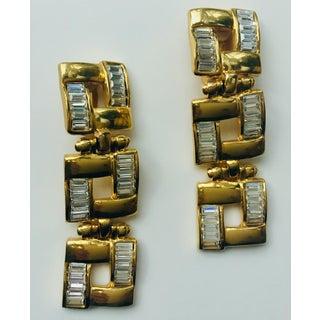 1980s Robert Rose Long Baguette Crystal Gold Squares Earrings Preview