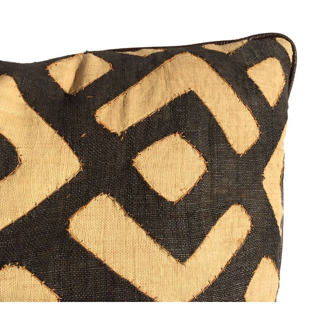 Designer Kuba Cloth & Italian Leather Pillow - Image 2 of 4