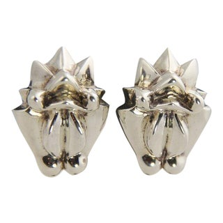 Patricia Von Musulin Modernist Frog Sterling Earrings For Sale