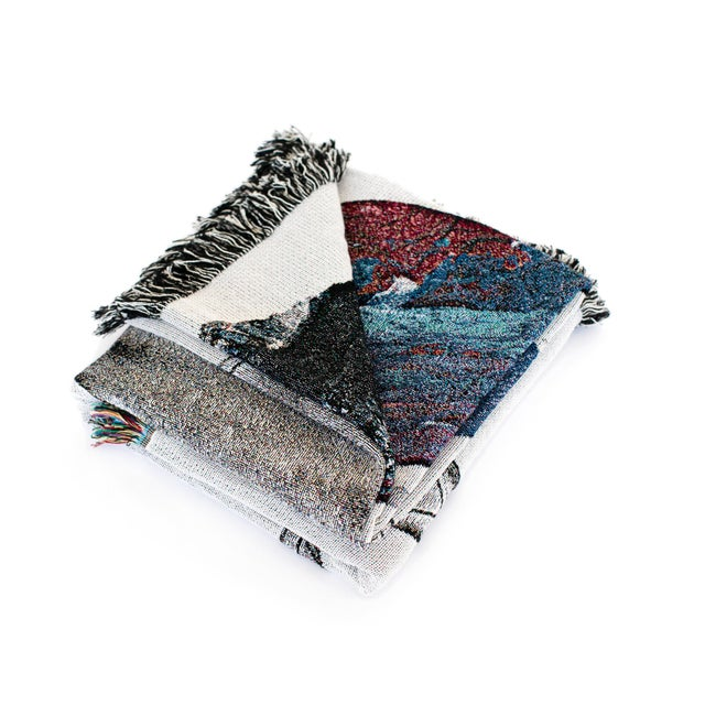 Jacquard woven 100% cotton throw blanket. Design derived from original mixed-media painting. Hand finished for uniqueness....