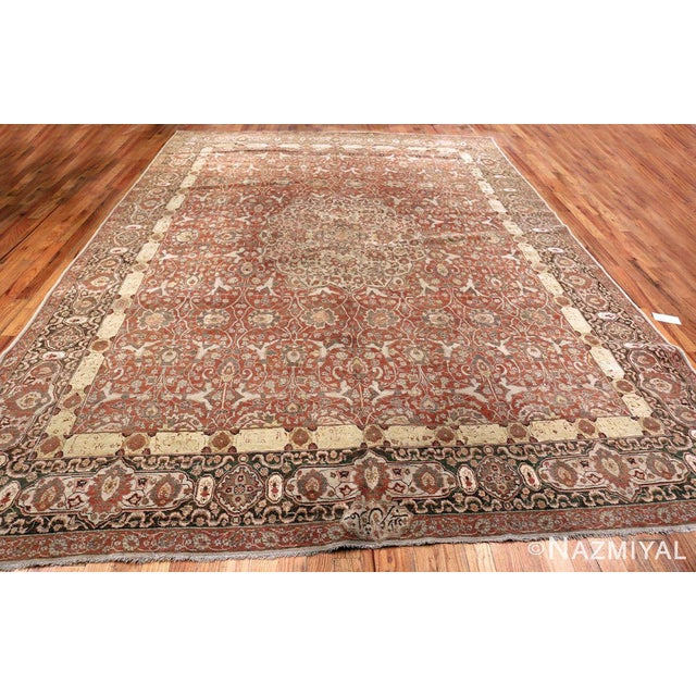 White Room Size Antique Persian Tabriz Rust Color Rug - 10′7″ × 14′5″ For Sale - Image 8 of 11