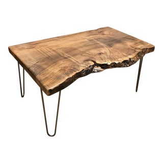 Organic Modern Live Edge Spalted Maple Coffee Table For Sale
