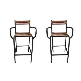 Eloy Wooden Bar Chair- a Pair, Rustic Bar Chair, Kitchen Counter Height Indoor Outdoor Metal Bar Chair- Burned Natural For Sale
