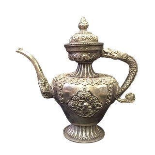Vintage Handwork Silver & Copper Tea Pot For Sale