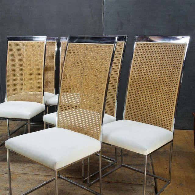 Mid-Century Modern Six 1970s Milo Baughman High Back Cane Chrome Dining Chairs Postmodern Vintage For Sale - Image 3 of 11