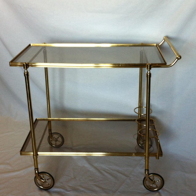 Maison Jansen Italian Brass Bar Cart - Image 2 of 6