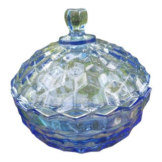 Indiana Glass Blue Whitehall Candy Box For Sale