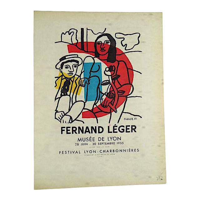 Vintage Mid Century Color Lithograph-Fernand Leger-Printed By Mourlot - Image 2 of 3