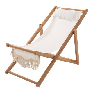 Sling Outdoor Chair - Antique White with Fringe For Sale