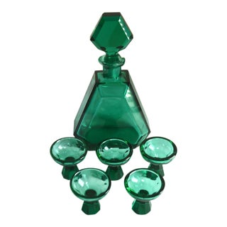 Czech Bohemian Art Deco Turquoise Blue Glass Decanter & Glasses - Set of 6 For Sale