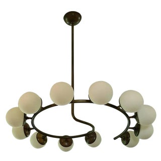 "Blueprint Lighting ""Fibonacci 12"" Italian Modern Brass Chandelier For Sale"
