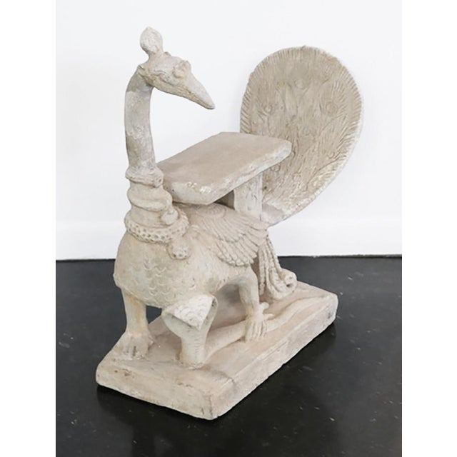 Figurative Mayura, Hindu Peacock and Cobra Concrete Sculpture For Sale - Image 3 of 6