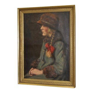 "Carl Stilling (Denmark, 1874-1938) ""Dutch Girl"" Oil on Canvas C.1924 For Sale"