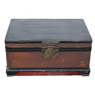 Vintage Wooden Chinese Trunk For Sale