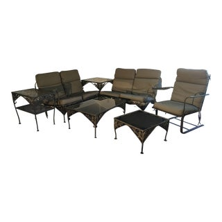 1960 Vintage Wrought Iron Patio Furniture - Set of 7 For Sale