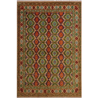 Southwestern Balouchi Andera Ivory/Green Wool Rug - 5'6 X 7'7 For Sale